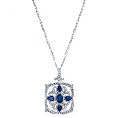 JEWELRY - 14K Sapphire And Diamond Vintage Filigree Style Necklace