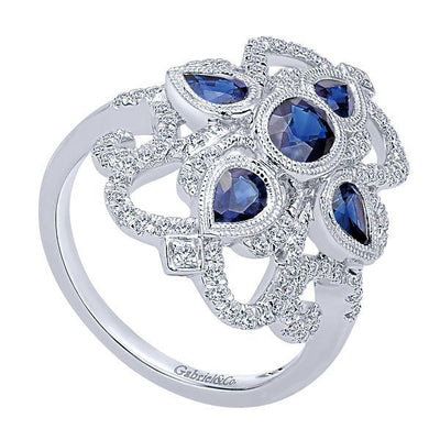 JEWELRY - 14K Sapphire And Diamond Vintage Filigree Style Ring
