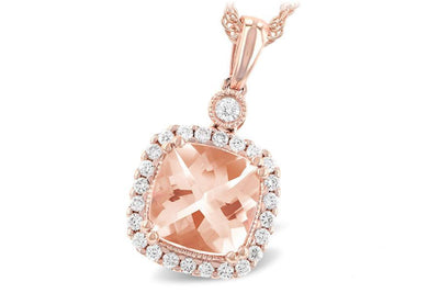NECKLACES - 14K Rose Gold Cushion Cut Morganite And Diamond Halo Necklace