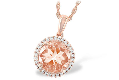 NECKLACES - 14K Rose Gold Morganite And Diamond Halo Necklace