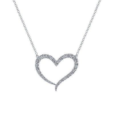 NECKLACES - 14K White Gold 1/2cttw Diamond Heart Necklace