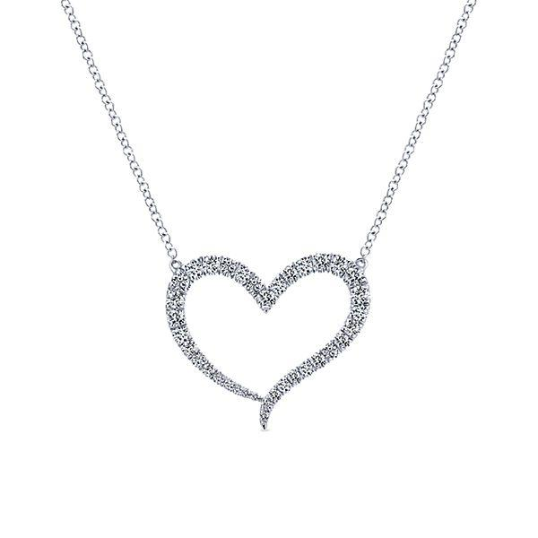 9cf574abe5a3d 14K White Gold 1/2cttw Diamond Heart Necklace - Mullen Jewelers