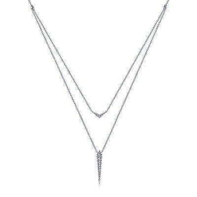 14K White Gold 1/4cttw Pave Diamond Layered Necklace