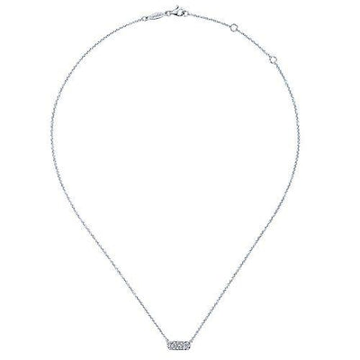 14K White Gold 1/5cttw Pave Diamond Bar Necklace