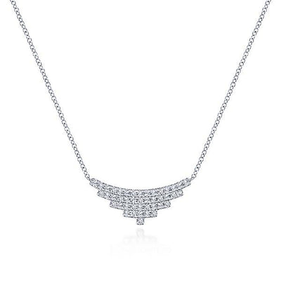 NECKLACES - 14K White Gold 5 Row Layered Diamond Bar Necklace