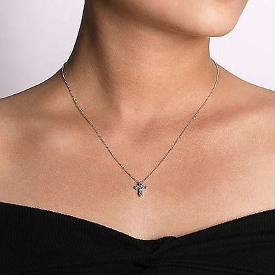 14K White Gold Classic 1/2ct Diamond Cross Necklace