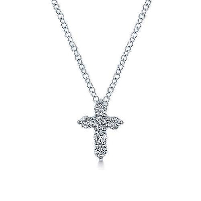 14K White Gold Classic 1/5ct Diamond Cross Necklace