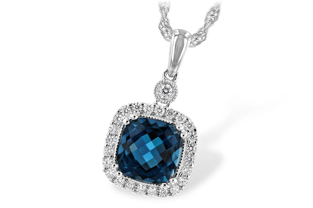 396fa00ee752 14K White Gold Cushion Cut London Blue Topaz and Diamond Halo Necklace -  Mullen Jewelers