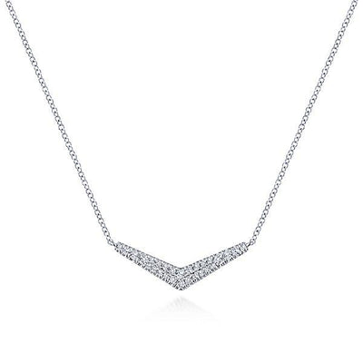 NECKLACES - 14K White Gold Double Row V Shaped Pave Diamond Bar Necklace