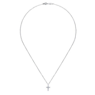 NECKLACES - 14K White Gold Filigree Diamond Cross Necklace