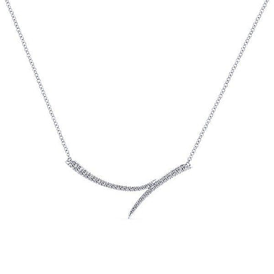 NECKLACES - 14K White Gold Flared Diamond Bar Necklace