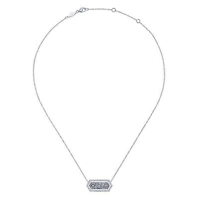 NECKLACES - 14K White Gold Long Hexagonal Cluster Diamond Halo Bar Necklace
