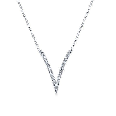 NECKLACES - 14K White Gold Long V Pave Diamond Necklace