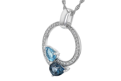 NECKLACES - 14K White Gold Pear Shaped Blue Topaz And Diamond Circle Necklace