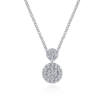 NECKLACES - 14K White Gold Stacked Double Circle Pave Diamond Cluster Necklace
