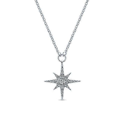 14K White Gold Starburst Diamond Fashion Necklace