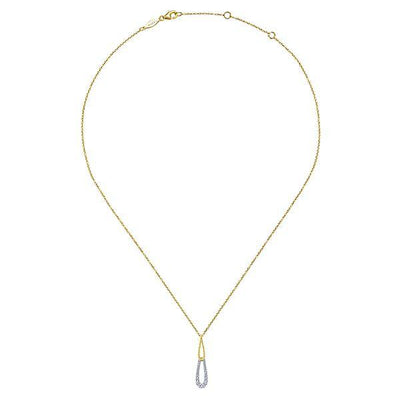 NECKLACES - 14K Yellow And White Gold Double Teardrop Diamond Necklace
