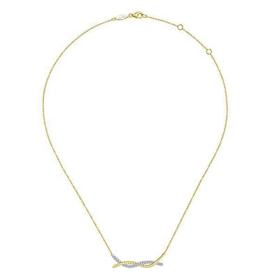 NECKLACES - 14K Yellow And White Gold Entwined Double Bar Diamond Necklace
