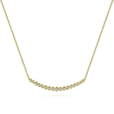 NECKLACES - 14K Yellow Gold Bezel Set 1/4cttw Diamond Bar Necklace