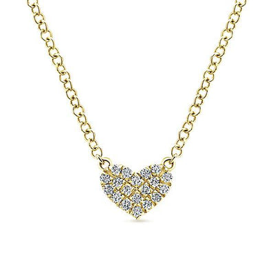 NECKLACES - 14K Yellow Gold Eternal Love Diamond Heart Necklace