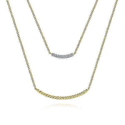 14K Yellow Gold Layered Twisted Gold and Diamond Double Bar Necklace