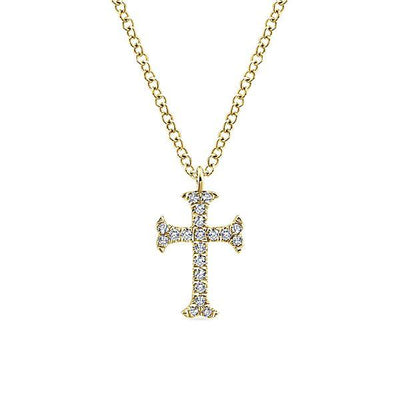 NECKLACES - 14K Yellow Gold Petite Flared Diamond Cross Necklace