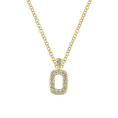 NECKLACES - 14K Yellow Gold Rectangular Open Halo Diamond Necklace