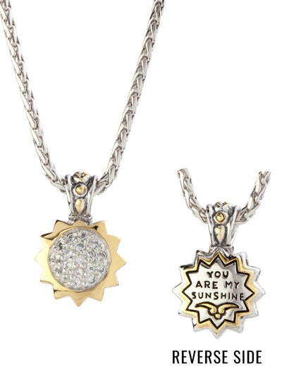 NECKLACES - Celebration You Are My Sunshine Charm With Crystals On 18 Inch Rope Chain