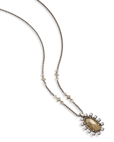 NECKLACES - Kendra Scott Brett Pyrite Antique Silver Long Bolo Necklace