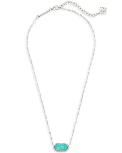 Kendra Scott Elisa Teal Drusy Silver Necklace
