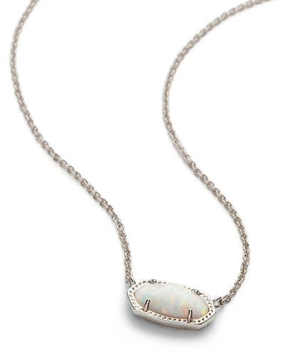 NECKLACES - Kendra Scott Elisa White Kyocera Opal Silver Necklace