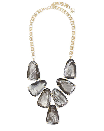 Kendra Scott Harlow Yellow Gold Plated Gray Illusion Statement Necklace