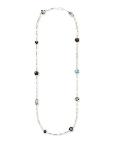 Kendra Scott Natalia Silver Plated Long Layering Necklace with Charcoal Gray Mixed Stones