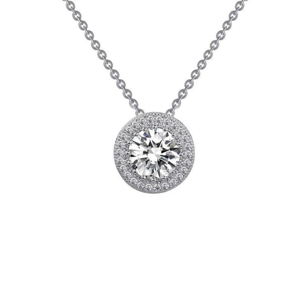 Lafonn Sterling Silver 1 52cttw Cz Round Halo Necklace
