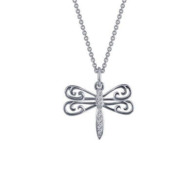 NECKLACES - Lafonn Sterling Silver Dragonfly Simulated Diamond Necklace