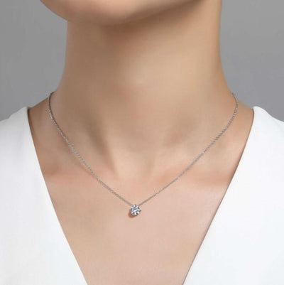 NECKLACES - Sterling Silver 1 Carat Round Simulated Diamond Solitaire Necklace