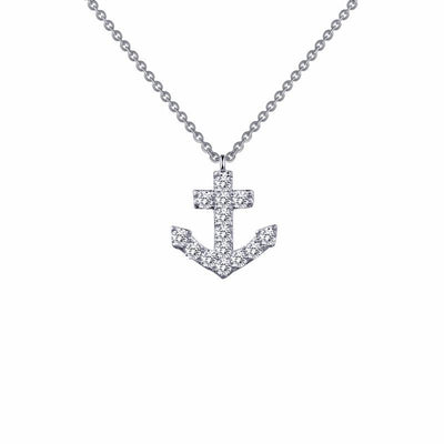 NECKLACES - Sterling Silver Anchor Simulated Diamond Necklace