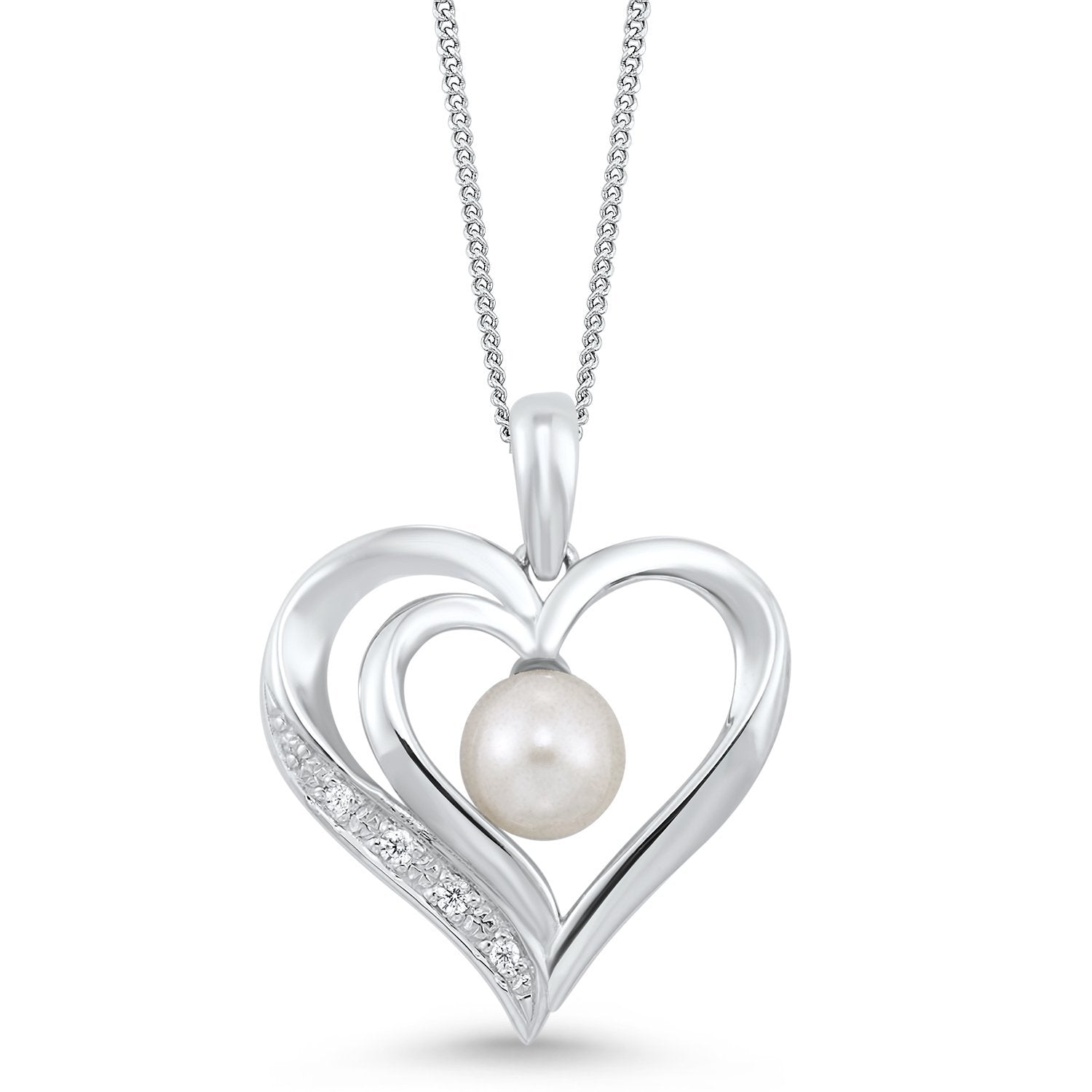 Sterling Silver and Freshwater Pearl Heart Necklace with CZ Accents