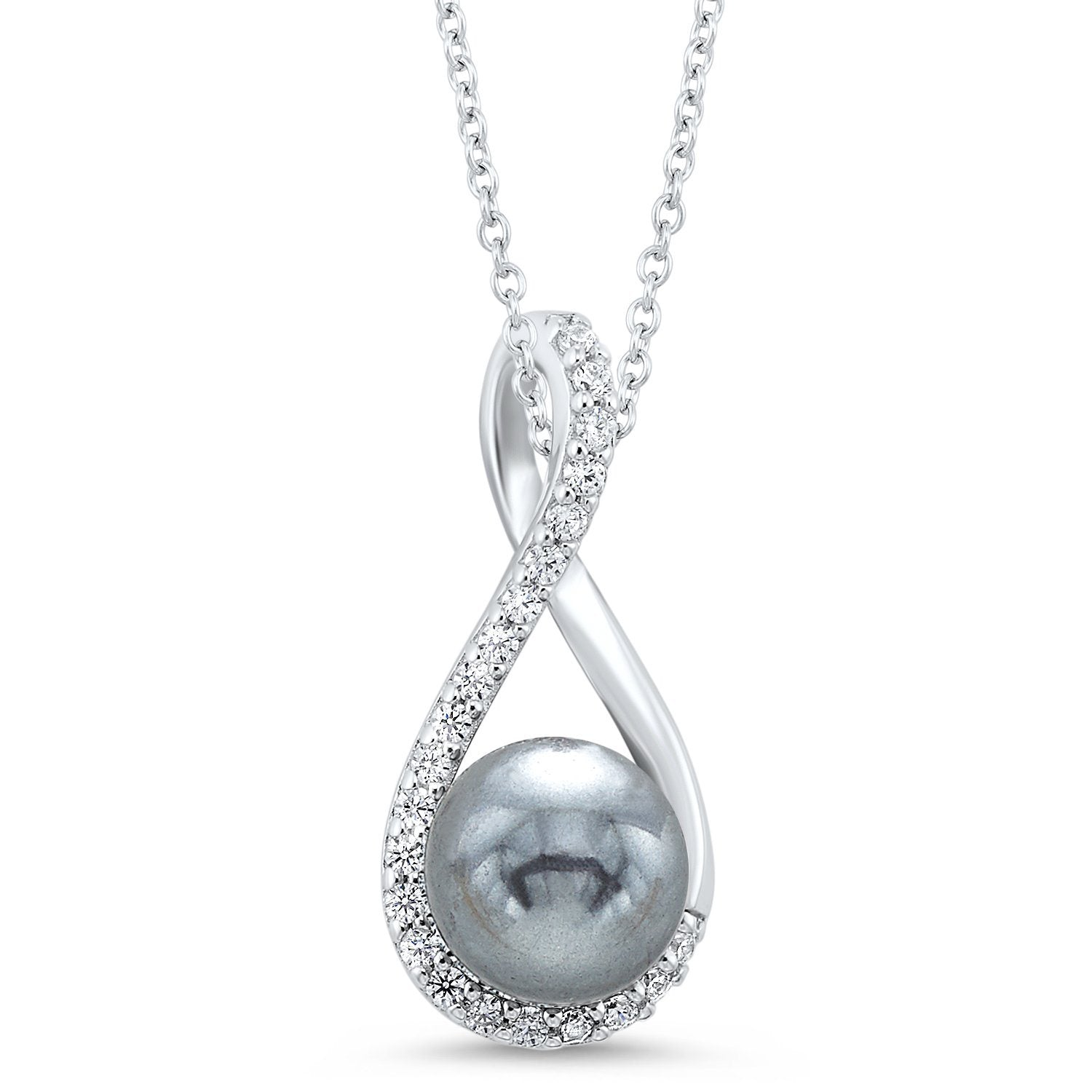 Sterling Silver and Gray Freshwater Pearl Infinity Necklace with CZ Accents