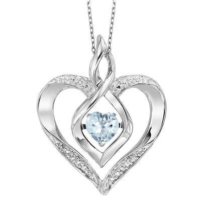 Sterling Silver Created Aquamarine and Diamond Heart Shaped Necklace