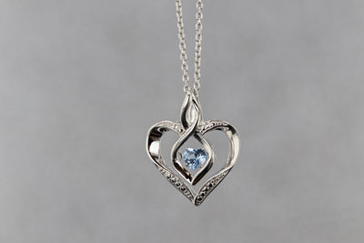 NECKLACES - Sterling Silver Created Aquamarine And Diamond Heart Shaped Necklace