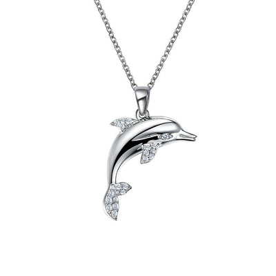 Sterling Silver Dolphin Pendant with Simulated Diamond Accents Necklace