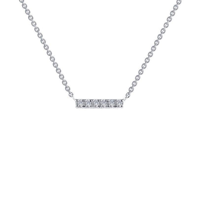 NECKLACES - Sterling Silver Pave Simulated Diamond Bar Necklace