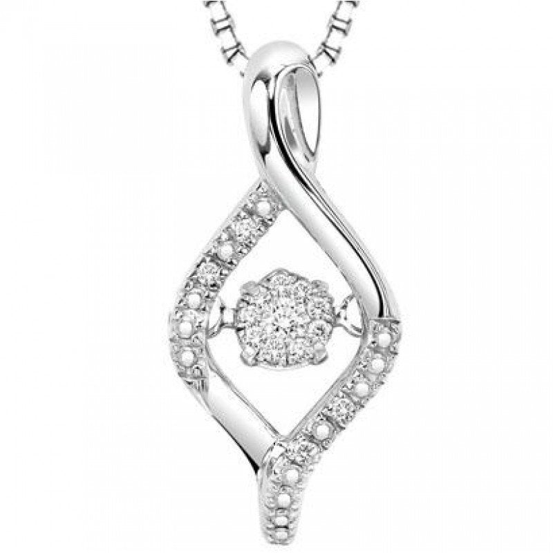 Sterling Silver Rhythm of Love Marquise Shaped Diamond Necklace