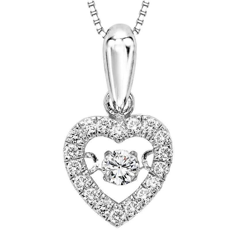 10k Rhythm of Love 1/5cttw Diamond Heart Shaped Necklace