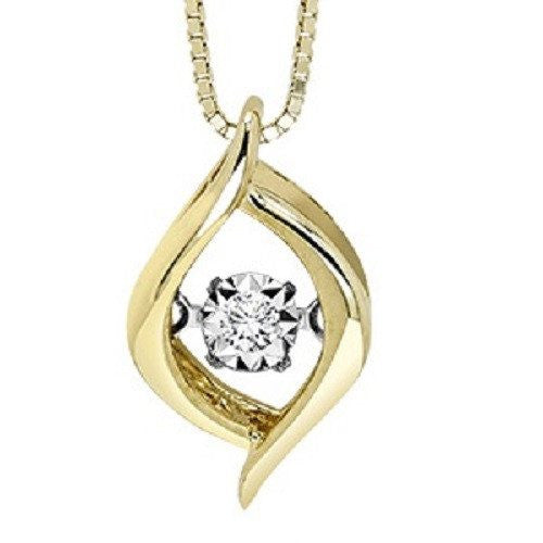 10K Yellow Gold Twisted Marquise Shaped Rhythm of Love Diamond Necklace