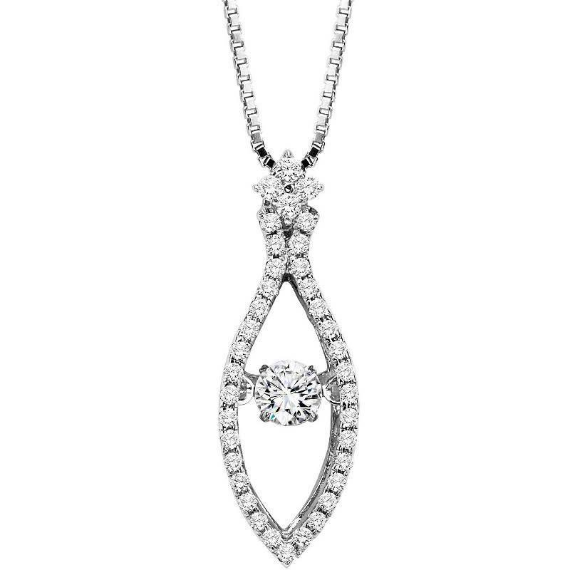 Rhythm of love diamond jewelry powered by her heartbeat mullen rhythm of love 14k 12cttw marquise shaped rhythm of love diamond halo necklace aloadofball Image collections