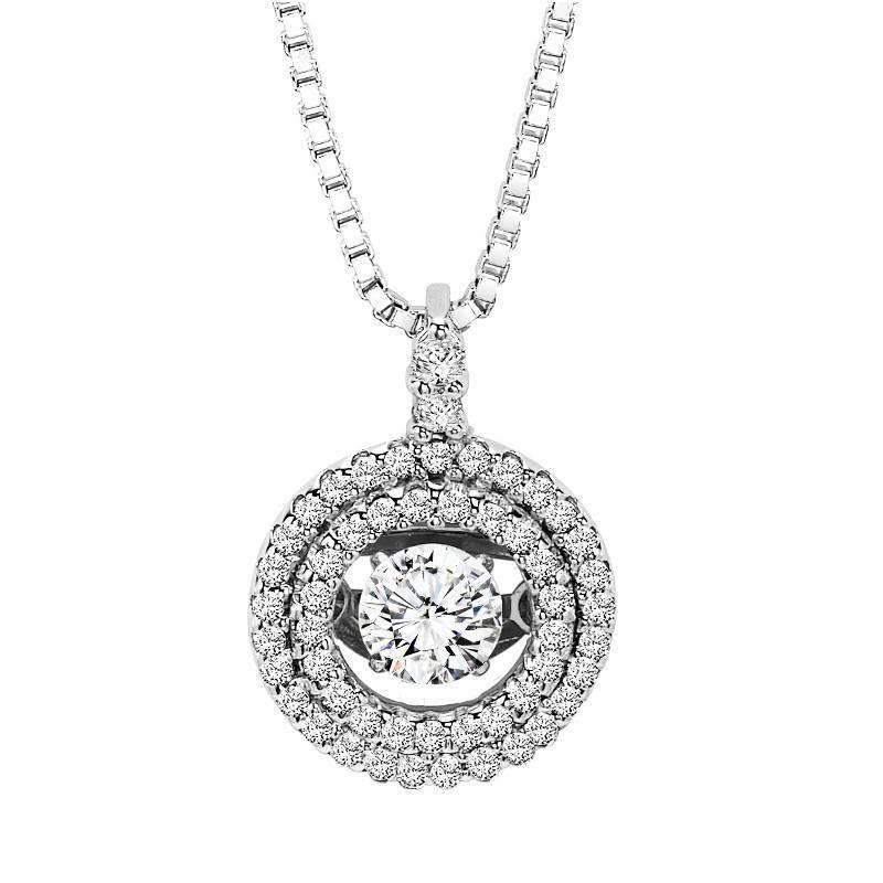 14K Rhythm of Love Double Halo Diamond Necklace