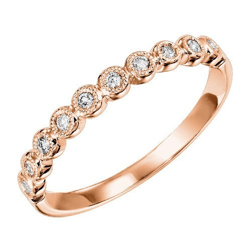 10k Rose Gold 12cttw Bead Set Round Station Diamond