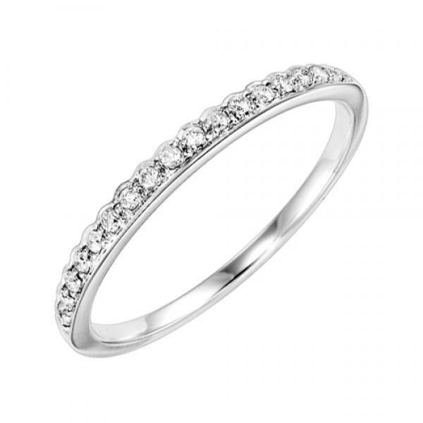 10K White Gold .12cttw Bead Set Contoured Diamond Stackable Ring